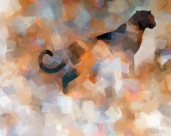 Black panther - Original Wildlife Art - Downloadable Art Print - Instant Download - Exclusive