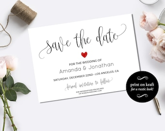 Save the Date Template - Save the Date Printable - Wedding Save the Date Template - Wedding announcement - Downloadable wedding #WDH0106