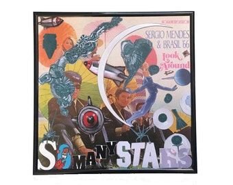 Vinyl Cover Collage Artwork Original So Many Stars Vintage Music Sergio Mendes Album Framed Record Wall Art Upcycled Home Decor