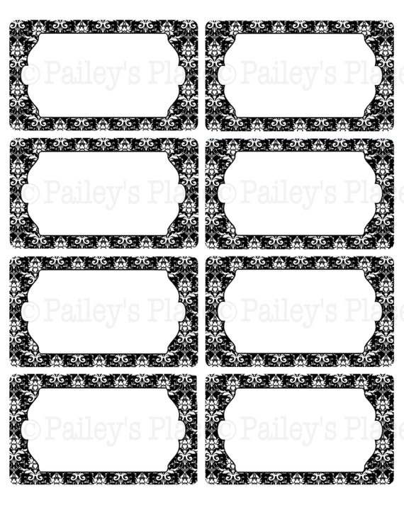 Items Similar To Printable Damask 3 Labels In Black And White Design Digital Gift Tags Printables Style 002B On Etsy