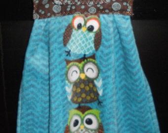 Owl Kitchen Towel, Hanging Owl Towel, Hanging Owl Kitchen Towel, Kitchen Towel, Blue Kitchen Towel, Brown Kitchen Towel, Ready to ship