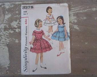 Vintage Simplicity 3378 Printed Sewing Pattern 1960 Child Size 5 Girls Dress Pattern