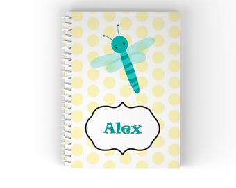Bug Personalized Notebook - Bug Yellow Polka Dot with Name, Customized Spiral Notebook Back to School