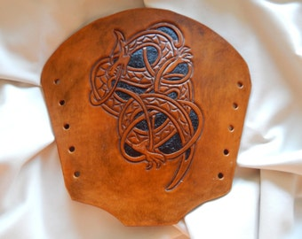 Norse Dragon leather bracer, gauntlet, leather cuff/Over Stock Sale Free U.S shipping