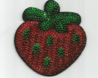 Red Green Strawberry Fruit Bright Dessert Sequin Embroidered Iron on Patch Applique az415166