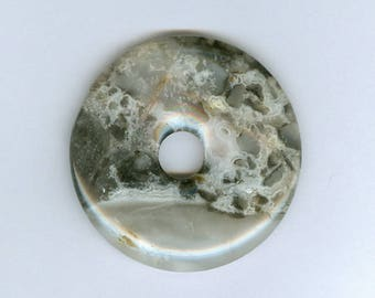 Black Lace Focal, 50mm White and Black Crazy Lace Agate Gemstone PI Donut Pendant 10212K