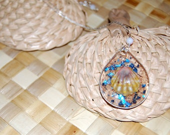 Sterling Silver Chain Necklace Sunrise Shell Pendant