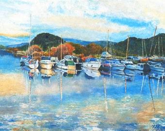 Seascape harbour, sailing boat print, sailboats print, watercolour boat print,marina wall art,harbour painting,giclee print,lounge prints
