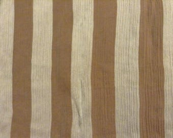 4 coupons of silk and lightly pleated linen printed large stripes