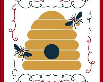 Primitive Stencil Bee Happy Reusable