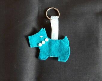 Handmade Radley Dog felt Keycharm - turquoise