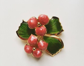 Vintage flowers enamel gold tone brooch