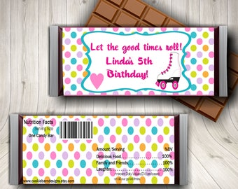 Roller Skate Party, Roller Skating Party, Candy Bar Wrapper, Skating Birthday, Roller Skates, Skating Party Favors, Skating Labels, Tween