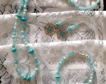 Blue Medallion Necklace, Bracelet & Earrings Set