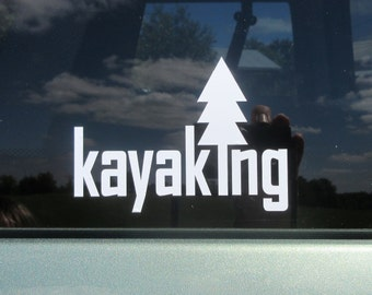 Kayaking vinyl decal, adventure sticker, outdoors, kayak decal, hiking decal, outdoor decal, outdoor adventure, hike, camp, paddle decals