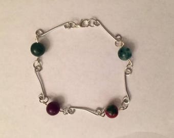 Handmade wirework and bead bracelet