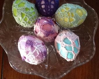 New handmade lace Easter eggs , bunny, crochet, set of six