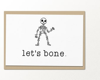 let's bone greeting card // halloween greeting card // card for him // card for couples // love greeting card
