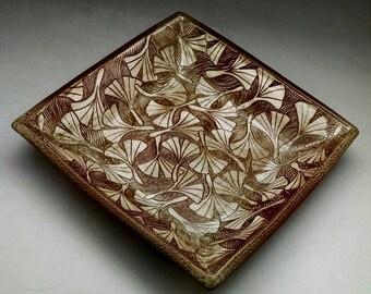 Ash Glazed Large Square Bowl Ginkgo Leaf Design