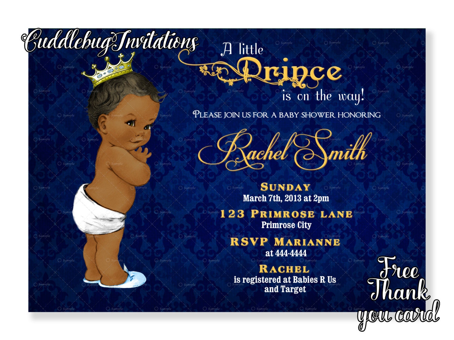 African American Boy Baby Shower Invitation Royal Baby Boy