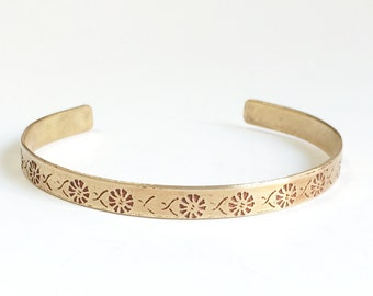 Cuff Bracelet, Etched Brass Cuff Art Deco Flowers - Free Domestic Shipping