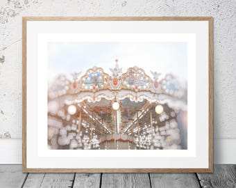 Carousel in Paris, Merry Go Round, Nursery Wall Art, Photography, Digital Download, Romantic art, Art & Collectibles, Pretty in Paris,