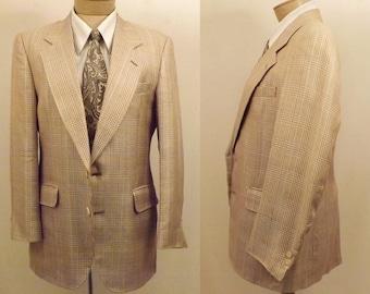 80s Men's Brown Glen Check Vintage Sport Coat Size 40