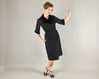 Vintage 1940s 1950s Dress | 40s 50s Black Silk Faille Double Breasted Coat Dress with Velvet Trim | Large