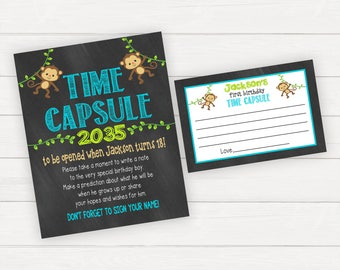 Time Capsule First Birthday, Time Capsule Sign, Time Capsule First Birthday, Monkey Birthday, Monkey Birthday Decorations, Monkey Party