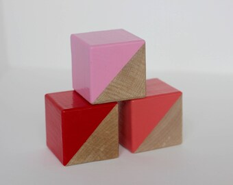 3 Pretty Pinks Painted Wooden Blocks