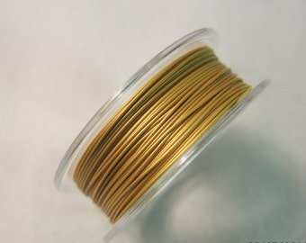 """Tigertail Beading Wire, Gold, 7-strand, 0.022"""" diameter, Nylon Coated, Stainless Steel - Available in 30 & 100 foot Spools"""