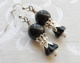 75% Off Clearance Sale, Black Lily Flower, Czech Glass, Silver Frost Bead, Silver Finish