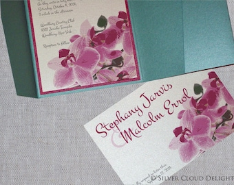 Orchid Wedding Invitations with RSVP Postcard - Pocket Invitations with Lace and Shabby Flower - Orchid and Aqua Trifold Wedding Invitations