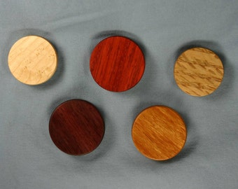 Multicolor Wooden Refrigerator Magnets Natural Colors - Set of Five