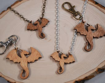 DRAGON wood pendant keychain and necklace - Dragon, Fantasy, Game of Thrones, and Eragon fans!