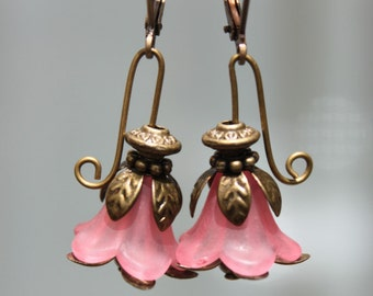 Pink Earrings Flower Earrings Lucite Earrings Dangle Drop Earrings Jewelry Christmas Gift For her Gift for women For her