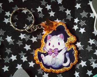 Witch Cat Fluorescent Acrylic Keychain - Cute single sided orange keychain - Cat dressed up as a Witch