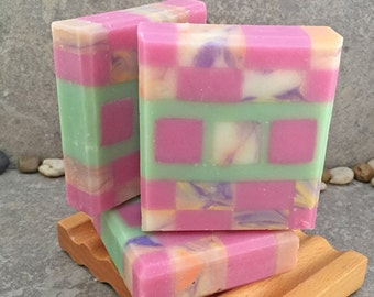 Mosaic Coconut Milk Soap Scented in Bamboo Pomegranate