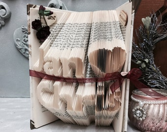 Folded book art, paper gift, book origami, book fold, book, paper anniversary, valentines day, romantic, couples names, couples, origami,