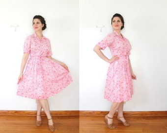 1960s Pink Dress / 60s 50s Dress / 1950s 1960s Pink Floral Full Skirt Shirtwaist Dress / Size Large