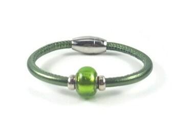 Green Leather Wrap Bracelet, Womens Leather Bracelet, Womens Leather Jewelry, Leather Bracelet, Leather Wrap Bracelet