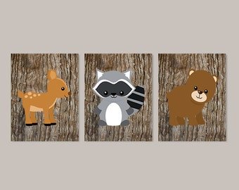 Woodland Nursery, Woodland Nursery Decor, Wall Art, Prints Or Canvas, Woodland Animals, Boy Nursery Prints, Nursery Wall Art, Set of 3