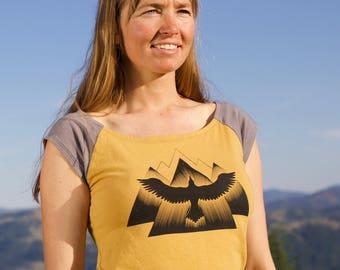 Organic Hemp Satya Shirt -with Rising Raven Screen Print Design - eco-friendly ink