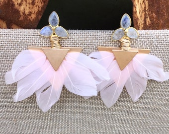 Moonstone flower post earring with pink feather dangle