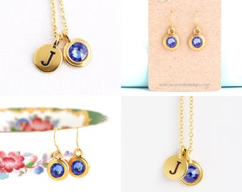 Personalized Jewelry - Birthstone Necklace - Gold Initial Necklace - Birthday Gift - Birth Month Jewelry - Gift For Woman