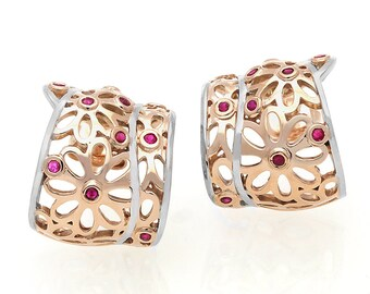 14K Rose and White Gold Ruby Earrings 3N00306