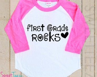 Kindergarten Rocks Shirt Boy Girl Shirt Kids pink Raglan Shirt