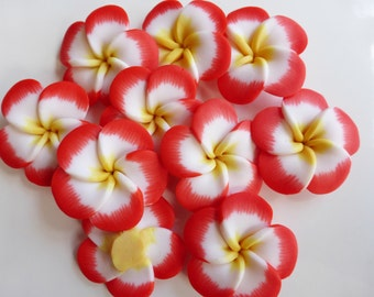 5 x Large Red and White Polymer Clay Flower Beads 34mm, Craft Supplies, Beads, UK Seller (OBT5014)