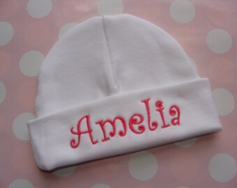 Personalized baby hat or cap - Newborn baby shower gift baby girl baby boy pink baby hat
