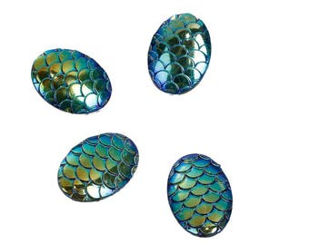 A set of 4 cabochons oval resin dragon or Mermaid scales.